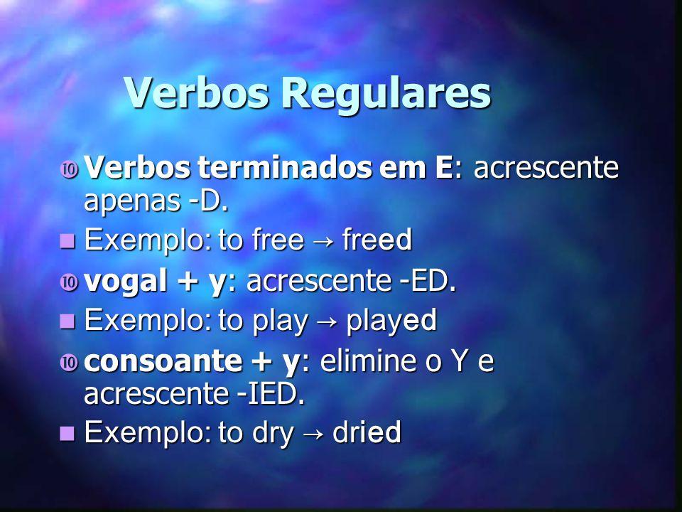 Verbos Regulares Verbos terminados em E: acrescente apenas -D.