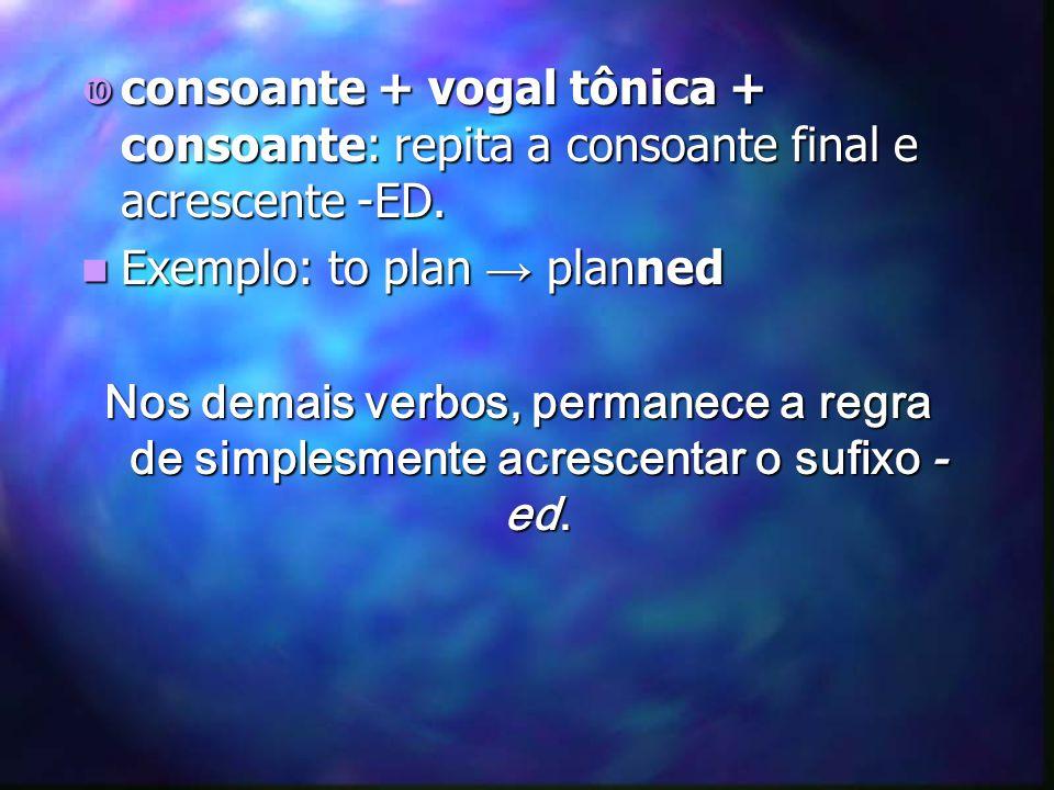 consoante + vogal tônica + consoante: repita a consoante final e acrescente -ED.