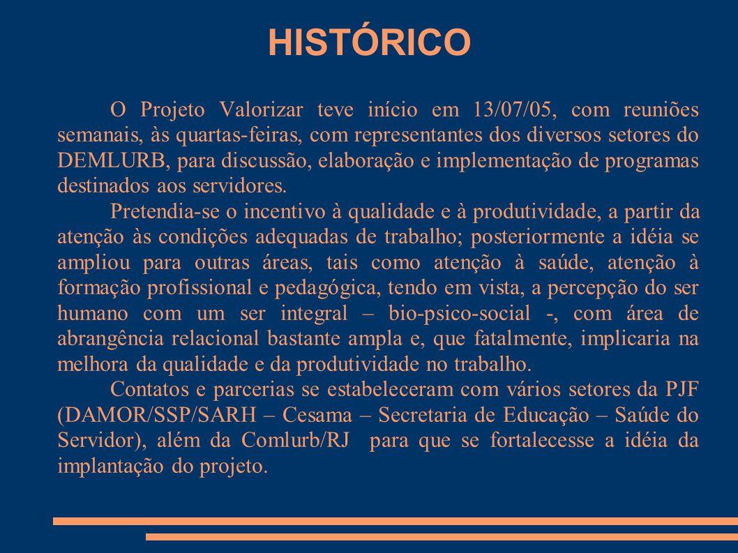 HISTÓRICO O Projeto Valorizar teve início em 13/07/05, com reuniões semanais, às quartas-feiras, com representantes dos diversos setores do DEMLURB, p