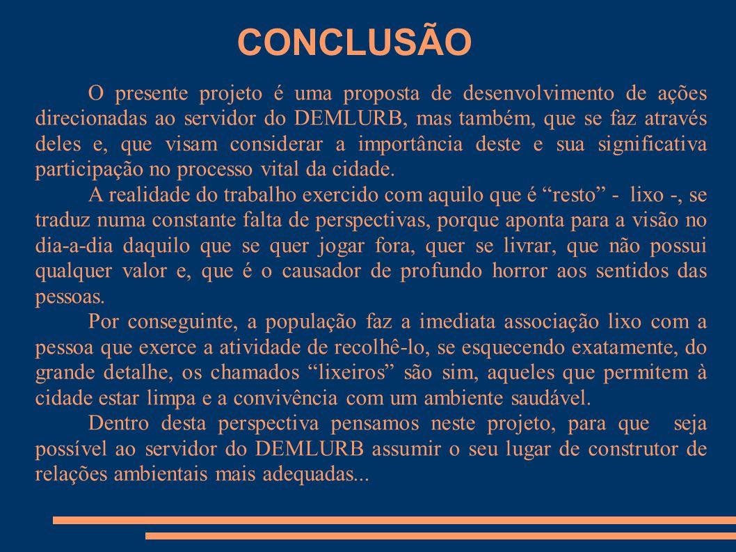 CONCLUSÃO O presente projeto é uma proposta de desenvolvimento de ações direcionadas ao servidor do DEMLURB, mas também, que se faz através deles e, q