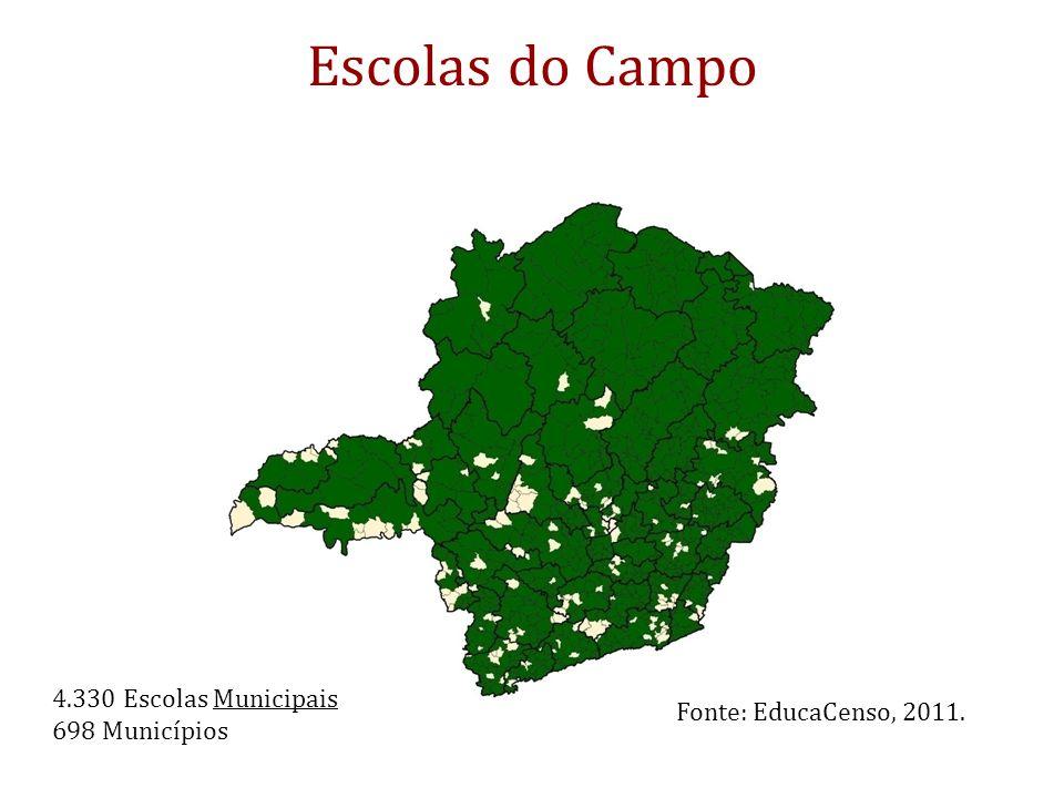Escolas do Campo 4.330 Escolas Municipais 698 Municípios Fonte: EducaCenso, 2011.