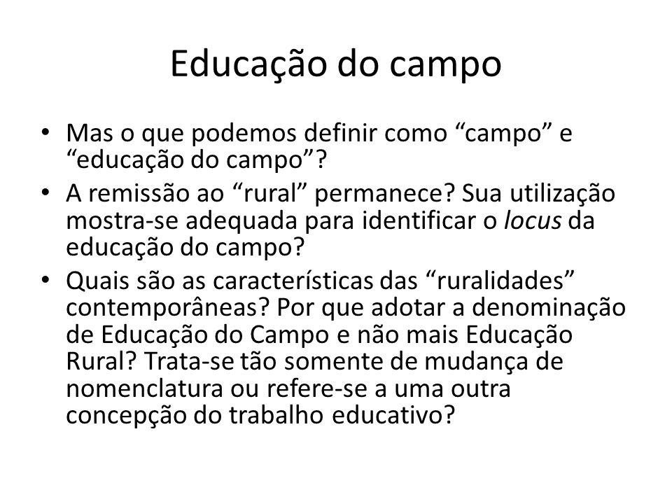 Educação do campo Mas o que podemos definir como campo e educação do campo? A remissão ao rural permanece? Sua utilização mostra-se adequada para iden