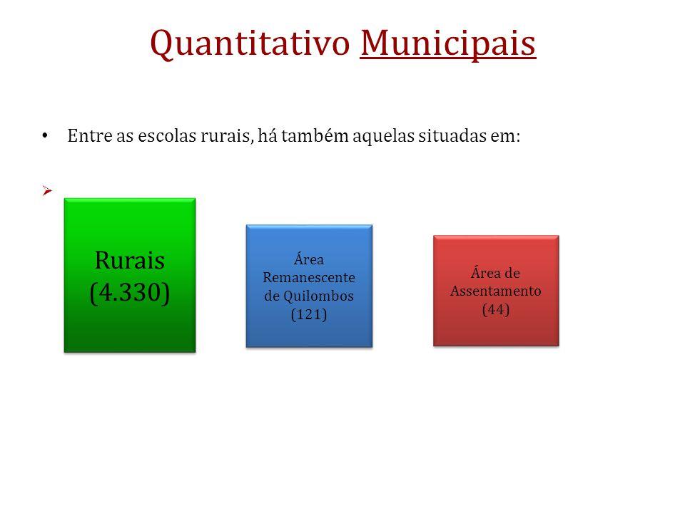 Quantitativo Municipais Entre as escolas rurais, há também aquelas situadas em: Área de Assentamento (44) Área de Assentamento (44) Área Remanescente