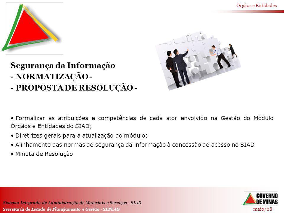 maio/08 Órgãos e Entidades Sistema Integrado de Administração de Materiais e Serviços - SIAD Secretaria de Estado de Planejamento e Gestão - SEPLAG Se