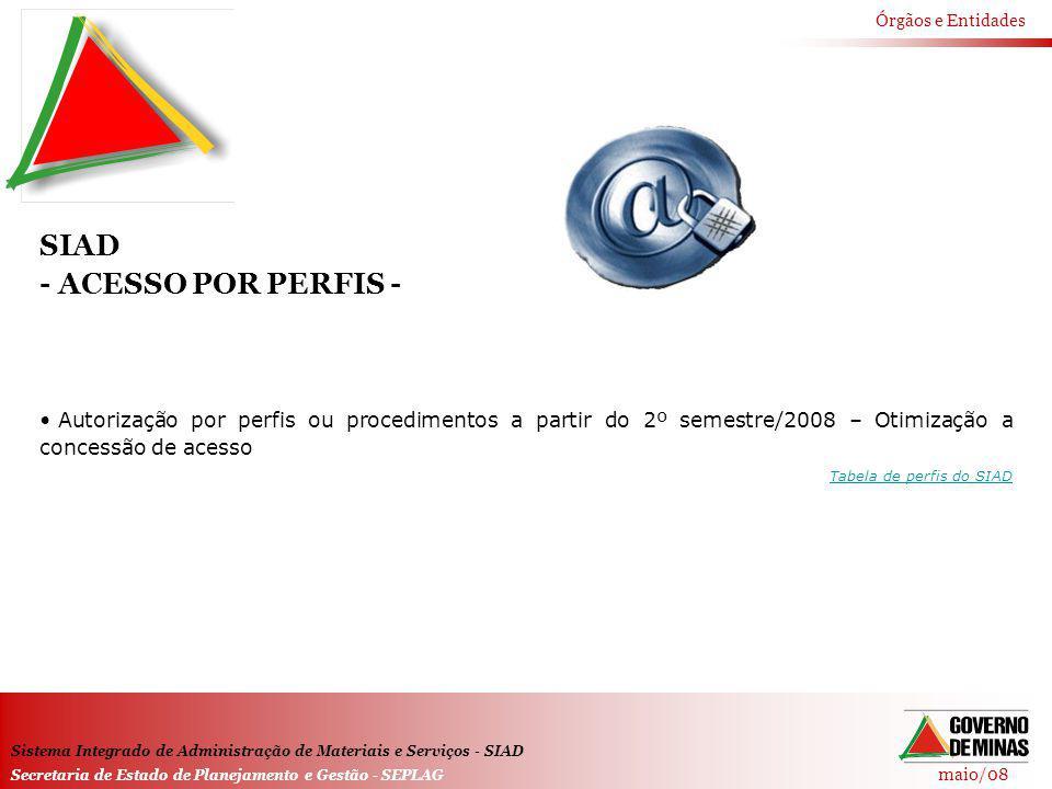 maio/08 Órgãos e Entidades Sistema Integrado de Administração de Materiais e Serviços - SIAD Secretaria de Estado de Planejamento e Gestão - SEPLAG SI
