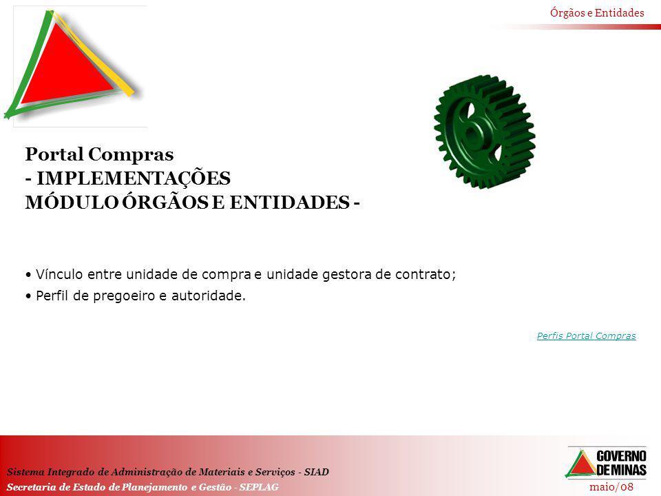 maio/08 Órgãos e Entidades Sistema Integrado de Administração de Materiais e Serviços - SIAD Secretaria de Estado de Planejamento e Gestão - SEPLAG Po