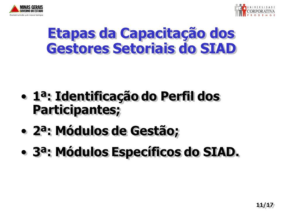 Etapas da Capacitação dos Gestores Setoriais do SIAD 1ª: Identificação do Perfil dos Participantes; 2ª: Módulos de Gestão; 3ª: Módulos Específicos do SIAD.
