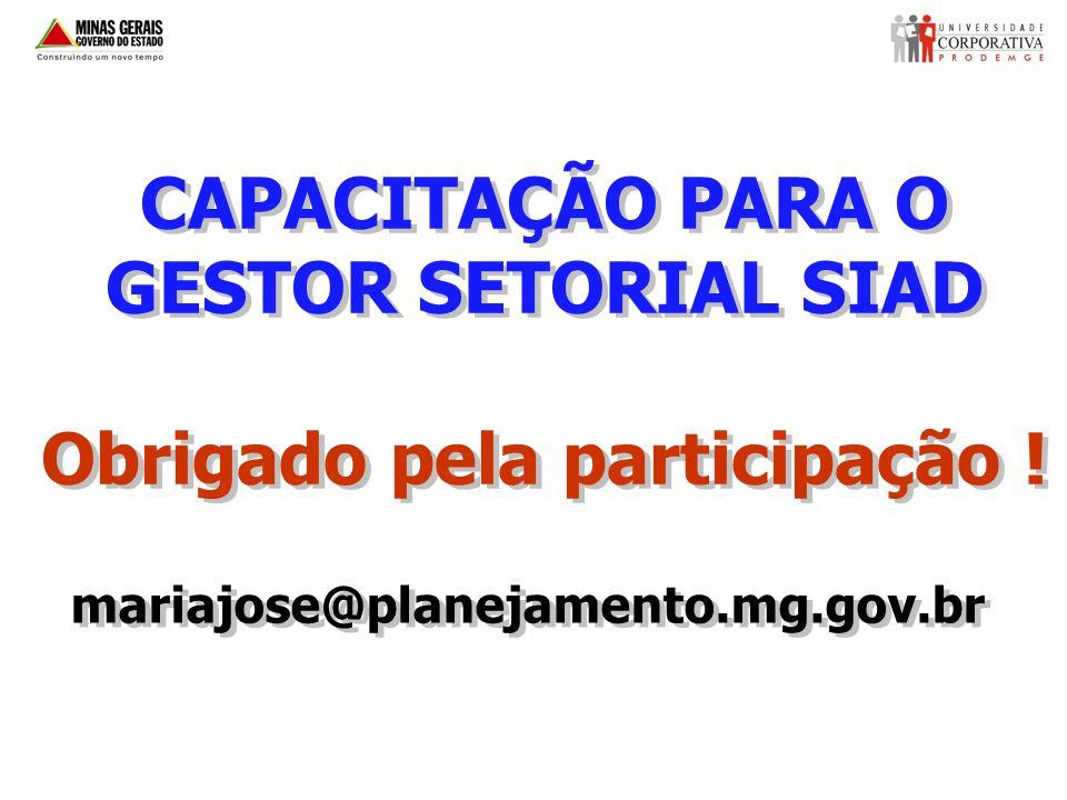CAPACITAÇÃO PARA O GESTOR SETORIAL SIAD Obrigado pela participação .