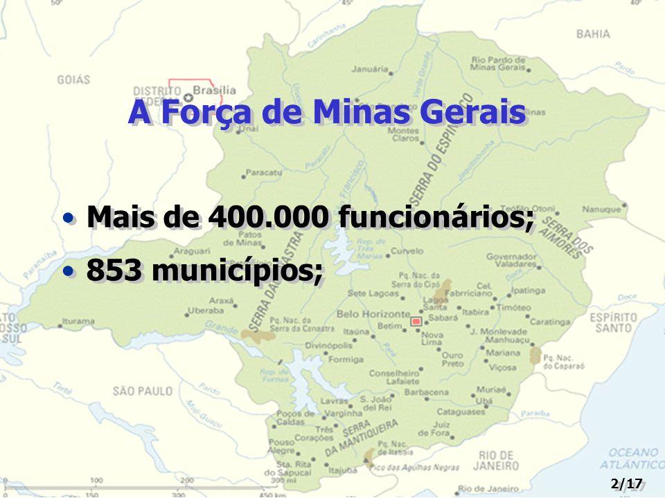 A Força de Minas Gerais Mais de 400.000 funcionários; 853 municípios; Mais de 400.000 funcionários; 853 municípios; 2/17