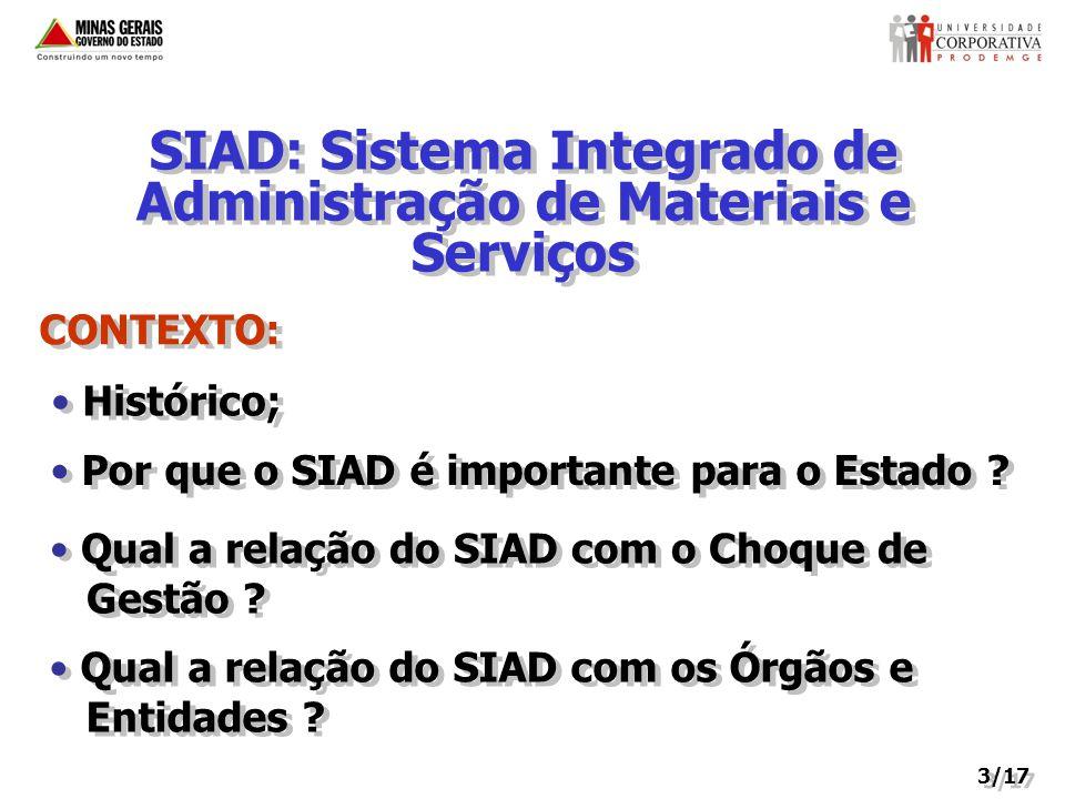 SIAD: Sistema Integrado de Administração de Materiais e Serviços CONTEXTO: Por que o SIAD é importante para o Estado .