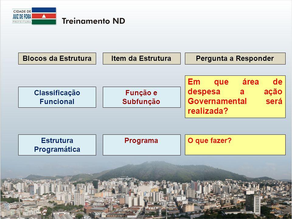 Blocos da EstruturaItem da EstruturaPergunta a Responder Classificação Funcional Função e Subfunção Em que área de despesa a ação Governamental será realizada.