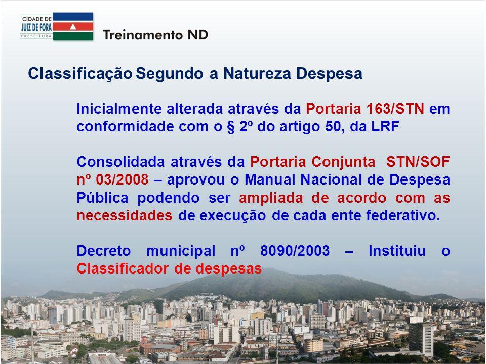 Inicialmente alterada através da Portaria 163/STN em conformidade com o § 2º do artigo 50, da LRF Consolidada através da Portaria Conjunta STN/SOF nº
