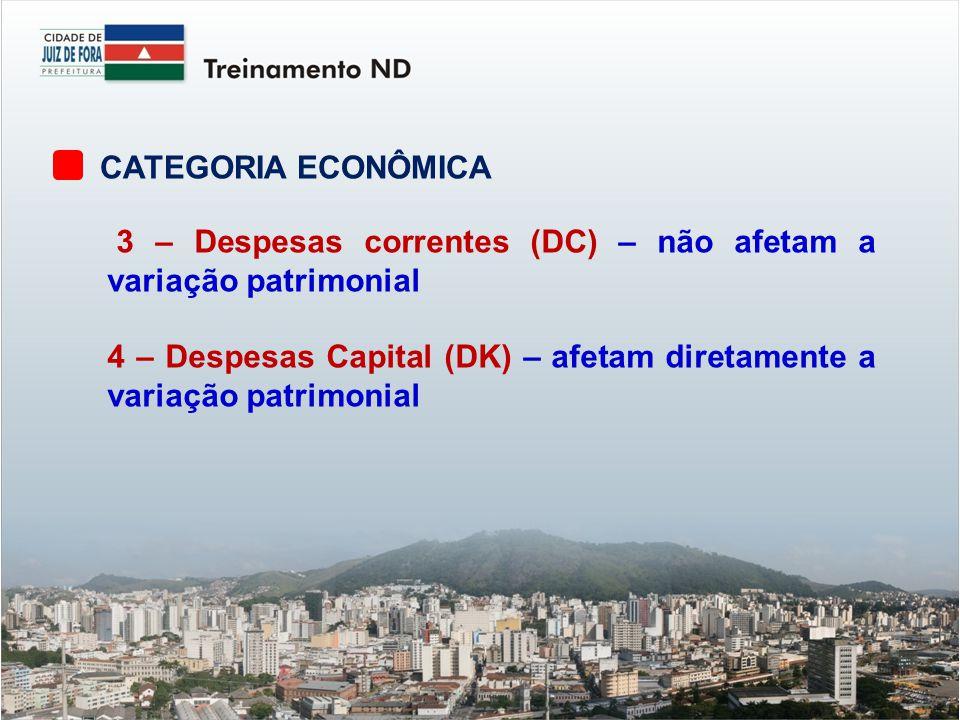 CATEGORIA ECONÔMICA 3 – Despesas correntes (DC) – não afetam a variação patrimonial 4 – Despesas Capital (DK) – afetam diretamente a variação patrimonial
