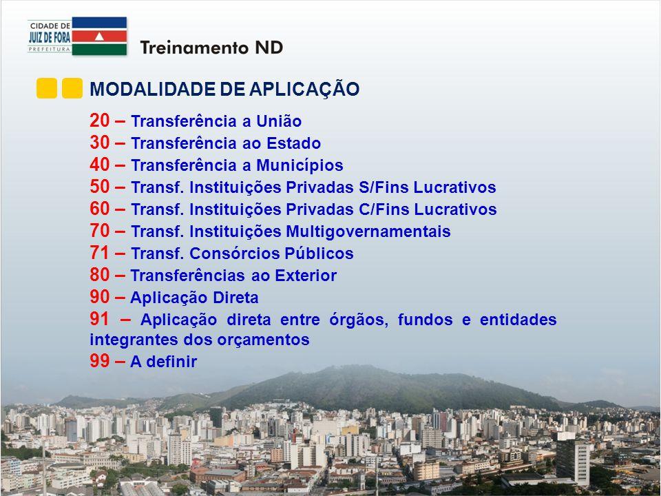MODALIDADE DE APLICAÇÃO 20 – Transferência a União 30 – Transferência ao Estado 40 – Transferência a Municípios 50 – Transf.