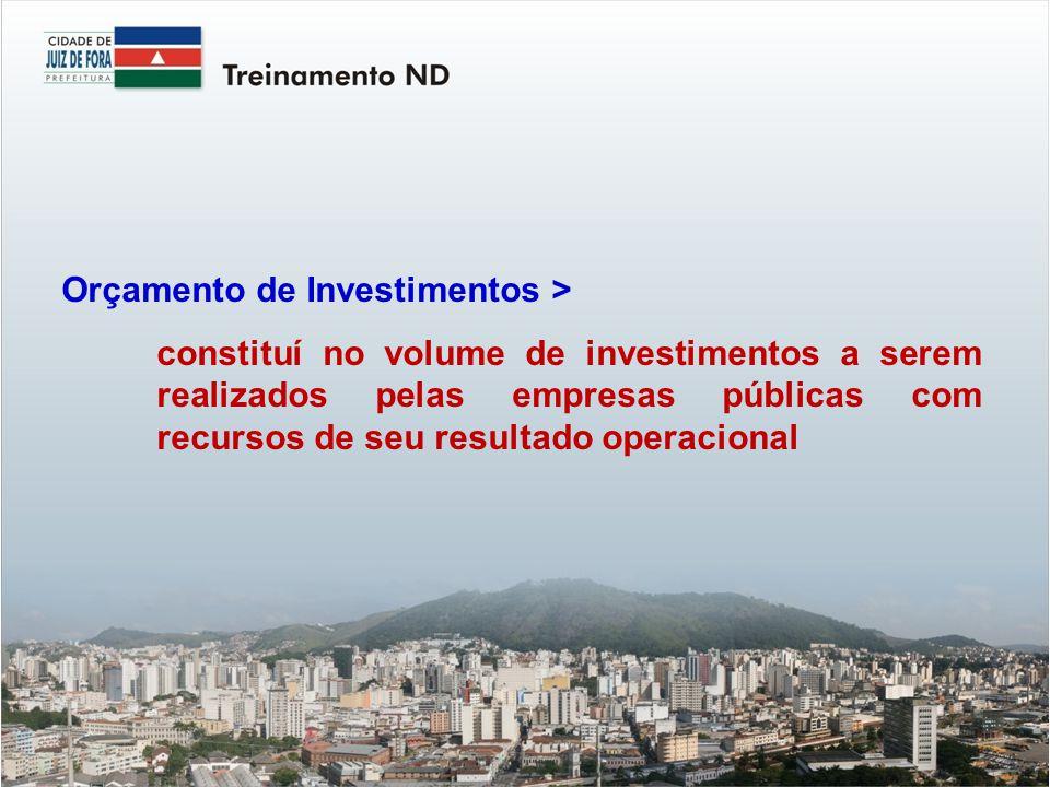 Orçamento de Investimentos > constituí no volume de investimentos a serem realizados pelas empresas públicas com recursos de seu resultado operacional