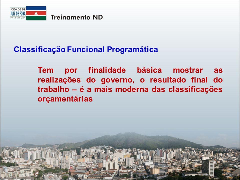 Tem por finalidade básica mostrar as realizações do governo, o resultado final do trabalho – é a mais moderna das classificações orçamentárias Classificação Funcional Programática