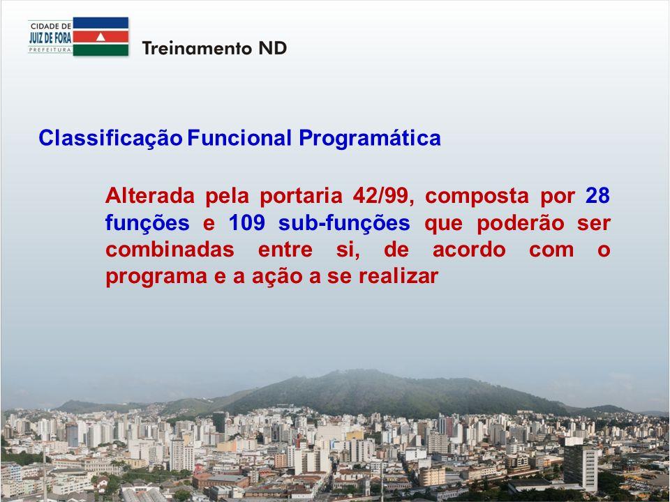 Alterada pela portaria 42/99, composta por 28 funções e 109 sub-funções que poderão ser combinadas entre si, de acordo com o programa e a ação a se realizar Classificação Funcional Programática