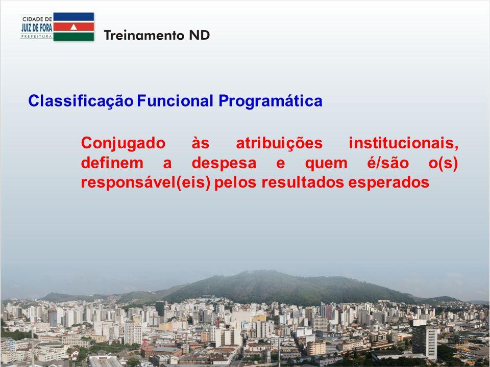 Conjugado às atribuições institucionais, definem a despesa e quem é/são o(s) responsável(eis) pelos resultados esperados Classificação Funcional Programática