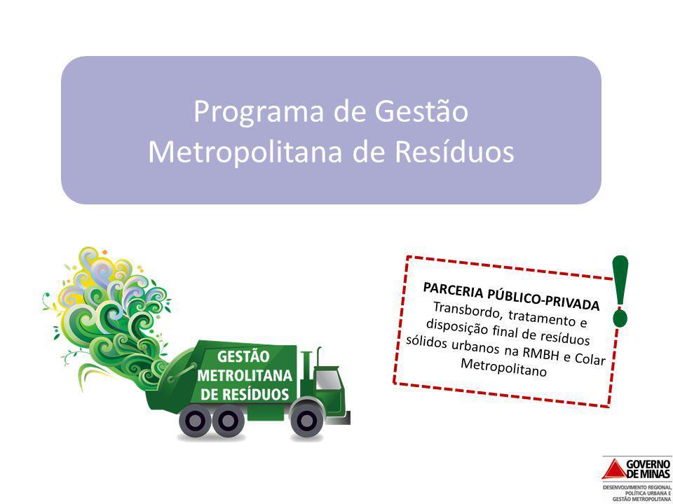 PARCERIA PÚBLICO-PRIVADA Transbordo, tratamento e disposição final de resíduos sólidos urbanos na RMBH e Colar Metropolitano Programa de Gestão Metrop
