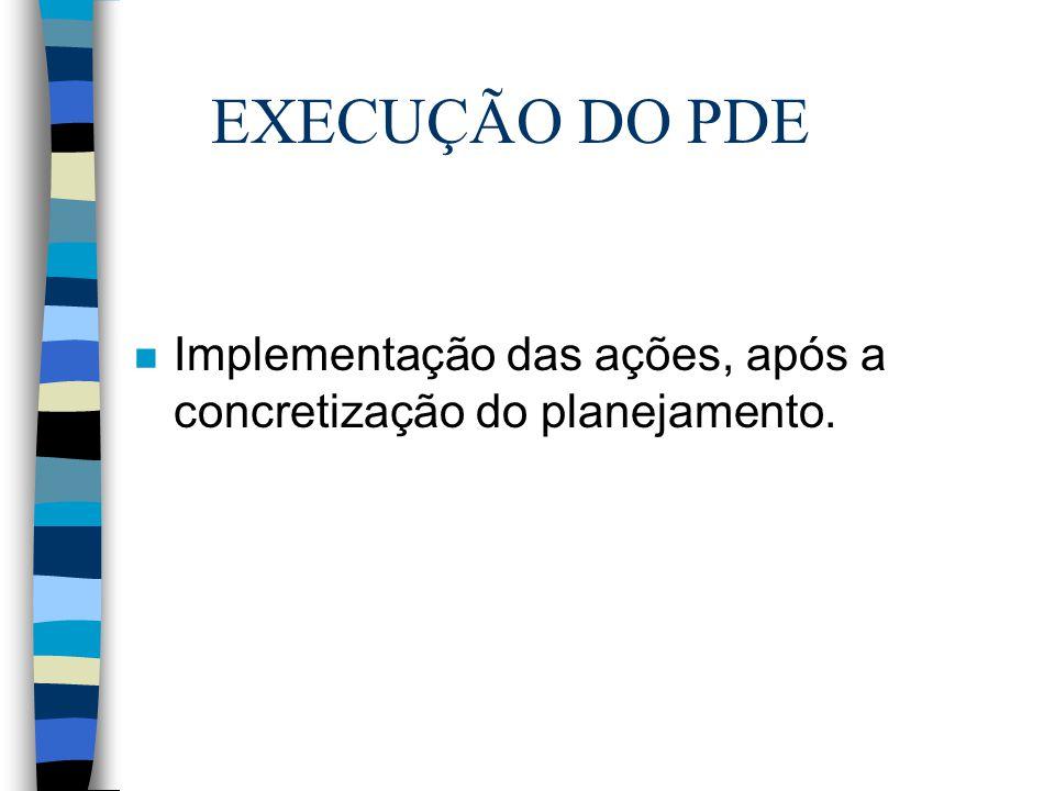 EXECUÇÃO DO PDE n Implementação das ações, após a concretização do planejamento.