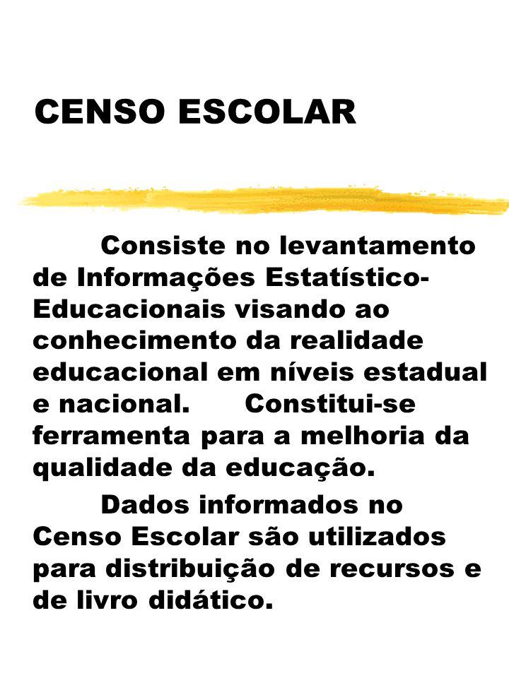 CENSO ESCOLAR Consiste no levantamento de Informações Estatístico- Educacionais visando ao conhecimento da realidade educacional em níveis estadual e