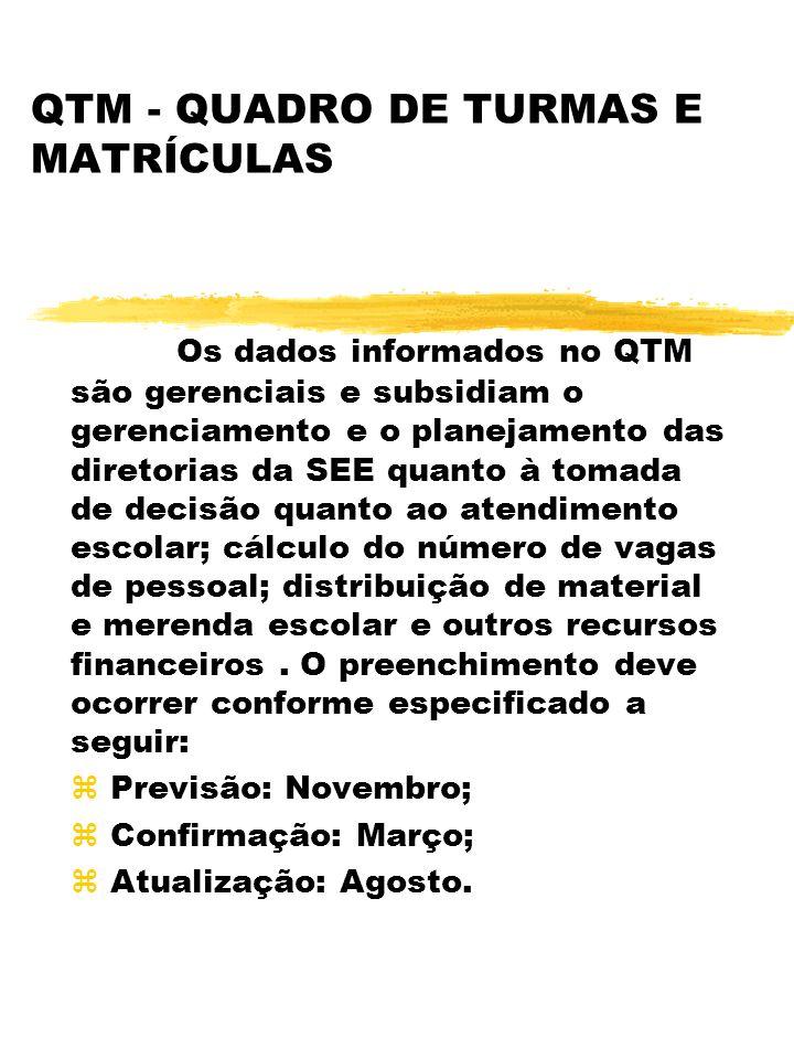 QTM - QUADRO DE TURMAS E MATRÍCULAS Os dados informados no QTM são gerenciais e subsidiam o gerenciamento e o planejamento das diretorias da SEE quant