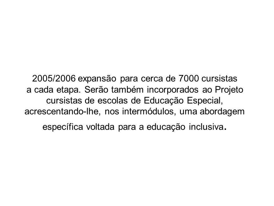 2005/2006 expansão para cerca de 7000 cursistas a cada etapa. Serão também incorporados ao Projeto cursistas de escolas de Educação Especial, acrescen