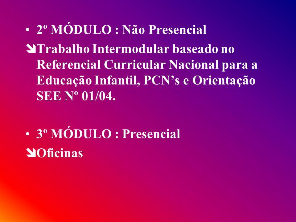 2º MÓDULO : Não Presencial îTrabalho Intermodular baseado no Referencial Curricular Nacional para a Educação Infantil, PCNs e Orientação SEE Nº 01/04.