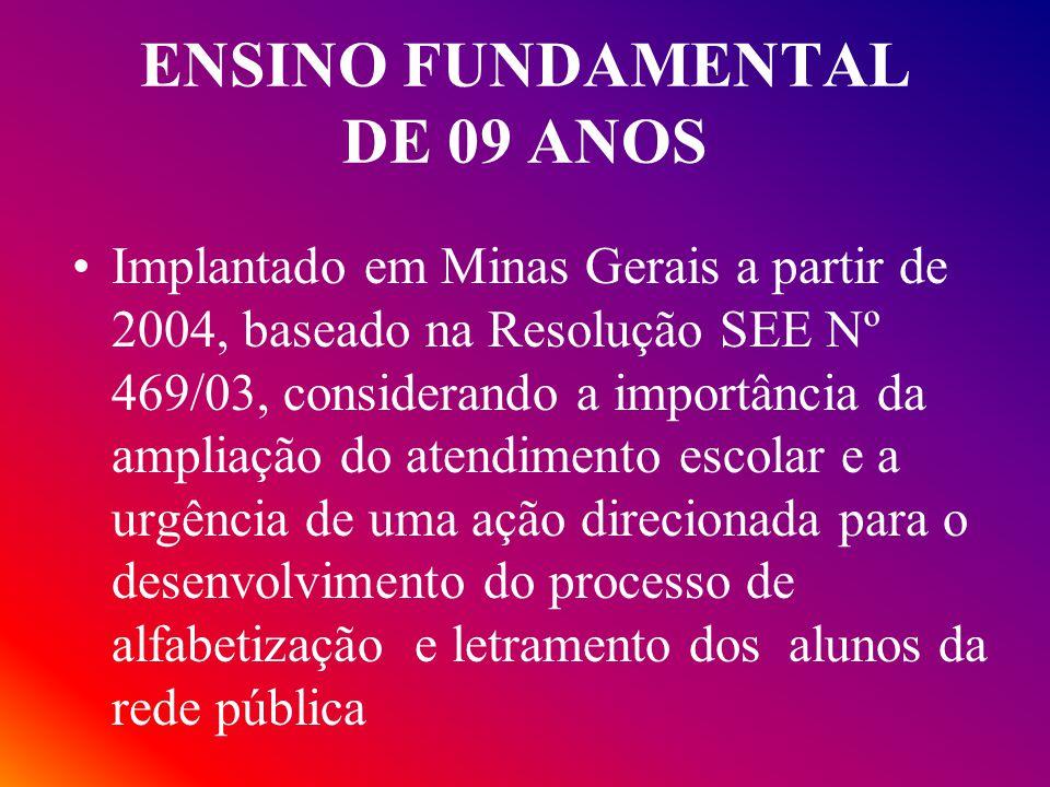 ENSINO FUNDAMENTAL DE 09 ANOS Implantado em Minas Gerais a partir de 2004, baseado na Resolução SEE Nº 469/03, considerando a importância da ampliação