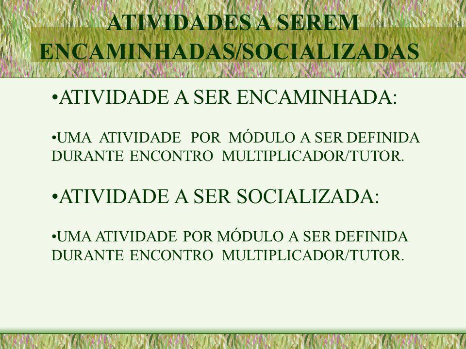 ATIVIDADE A SER ENCAMINHADA: UMA ATIVIDADE POR MÓDULO A SER DEFINIDA DURANTE ENCONTRO MULTIPLICADOR/TUTOR. ATIVIDADE A SER SOCIALIZADA: UMA ATIVIDADE