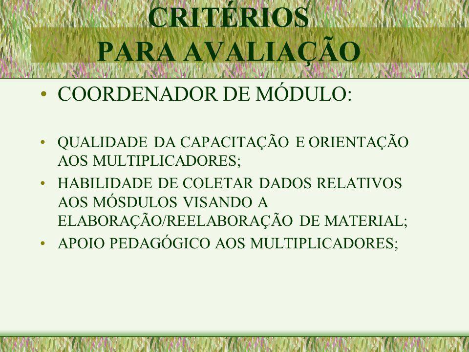 CRITÉRIOS PARA AVALIAÇÃO COORDENADOR DE MÓDULO: QUALIDADE DA CAPACITAÇÃO E ORIENTAÇÃO AOS MULTIPLICADORES; HABILIDADE DE COLETAR DADOS RELATIVOS AOS M