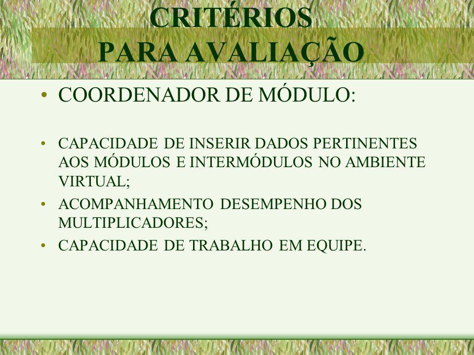 CRITÉRIOS PARA AVALIAÇÃO COORDENAÇÃO GERAL: ACOMPANHAMENTO DESEMPENHO DOS COORDENADORES DE MÓDULO; CAPACIDADE DE TRABALHO EM EQUIPE.