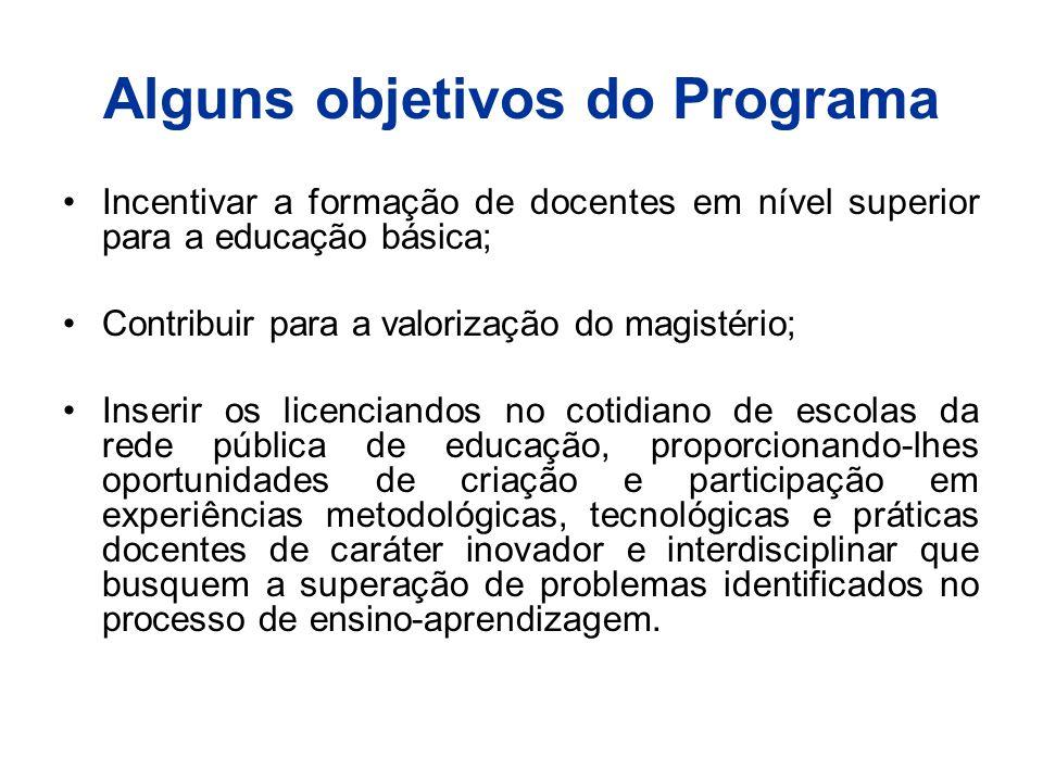 Alguns objetivos do Programa Incentivar a formação de docentes em nível superior para a educação básica; Contribuir para a valorização do magistério;
