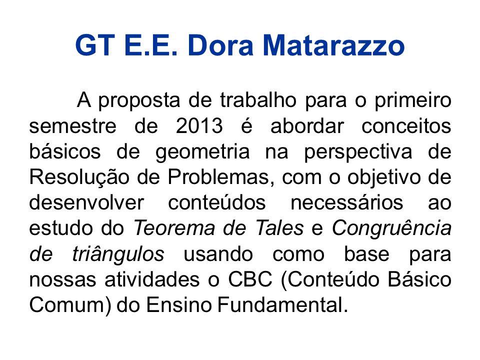 GT E.E. Dora Matarazzo A proposta de trabalho para o primeiro semestre de 2013 é abordar conceitos básicos de geometria na perspectiva de Resolução de