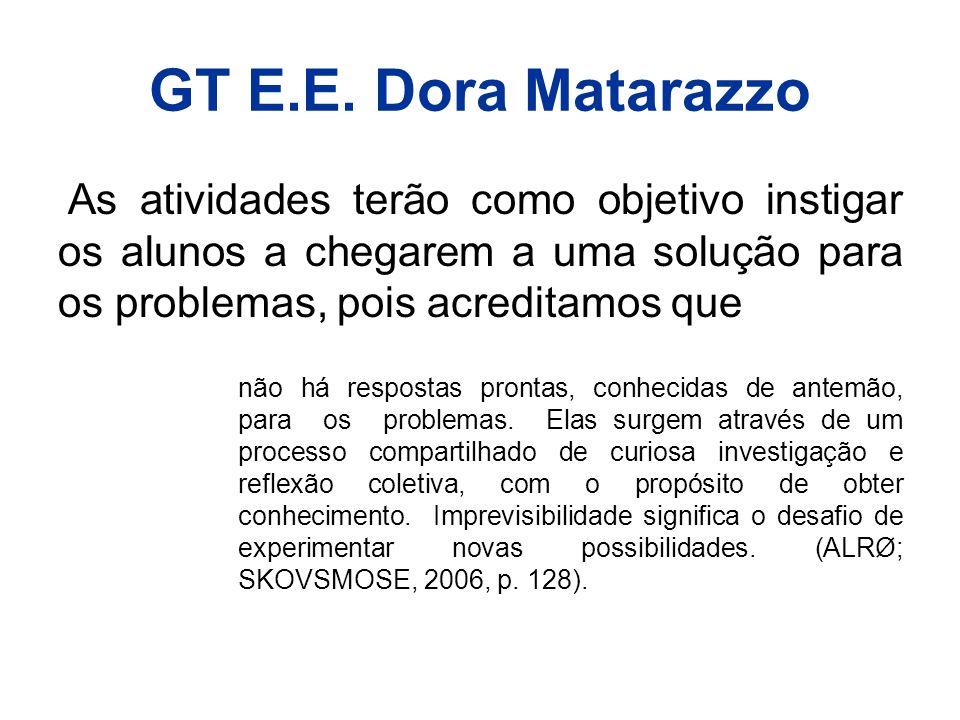 GT E.E. Dora Matarazzo As atividades terão como objetivo instigar os alunos a chegarem a uma solução para os problemas, pois acreditamos que não há re