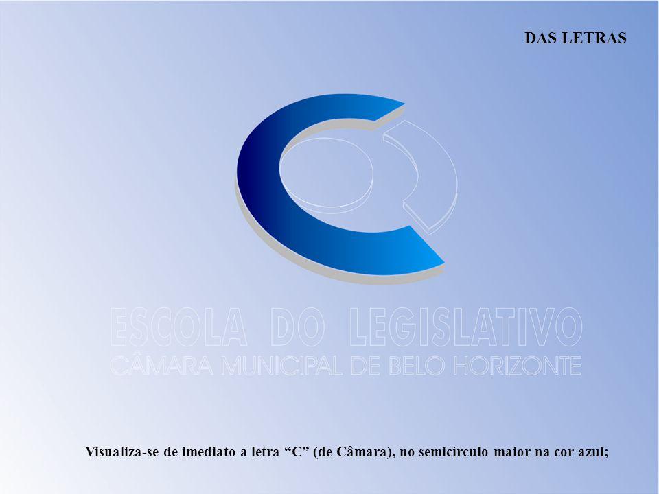DAS LETRAS Visualiza-se de imediato a letra C (de Câmara), no semicírculo maior na cor azul;