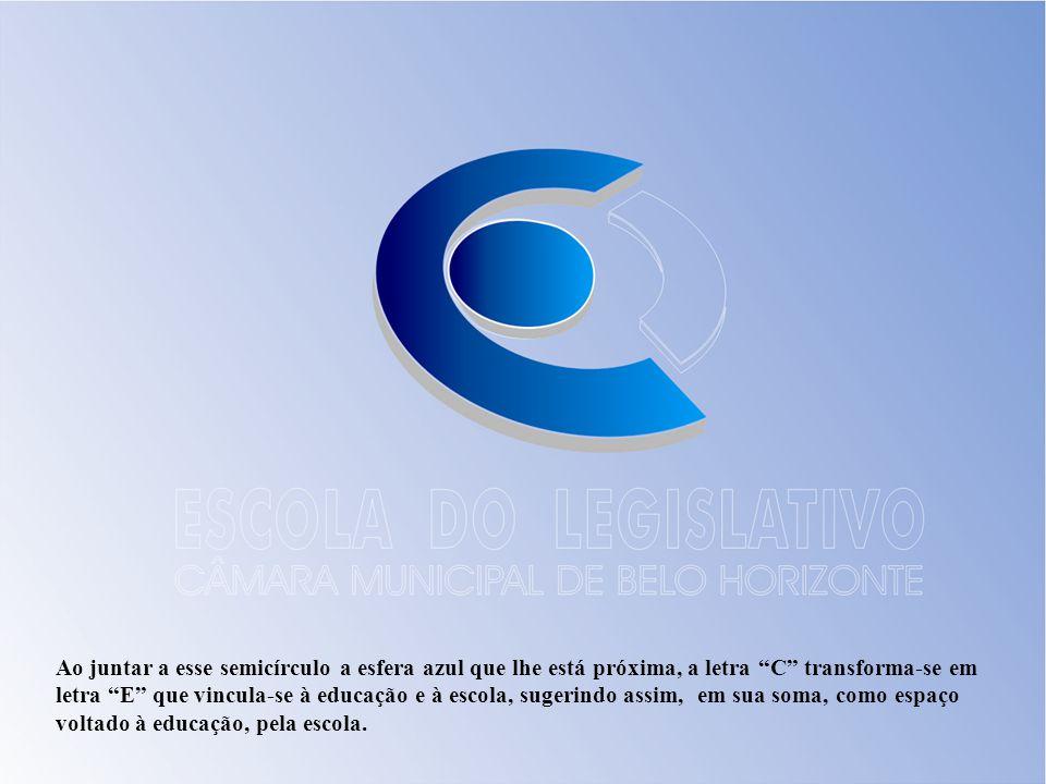 Ao juntar a esse semicírculo a esfera azul que lhe está próxima, a letra C transforma-se em letra E que vincula-se à educação e à escola, sugerindo as