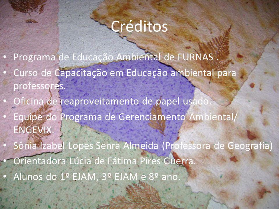 Créditos Programa de Educação Ambiental de FURNAS. Curso de Capacitação em Educação ambiental para professores. Oficina de reaproveitamento de papel u