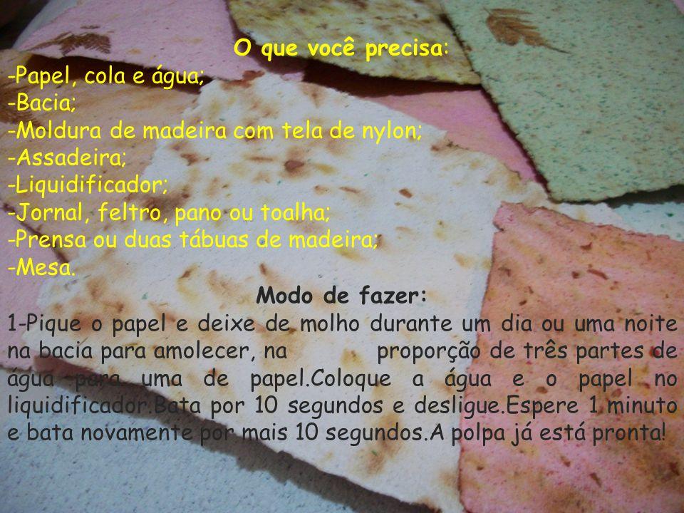 O que você precisa: -Papel, cola e água; -Bacia; -Moldura de madeira com tela de nylon; -Assadeira; -Liquidificador; -Jornal, feltro, pano ou toalha;