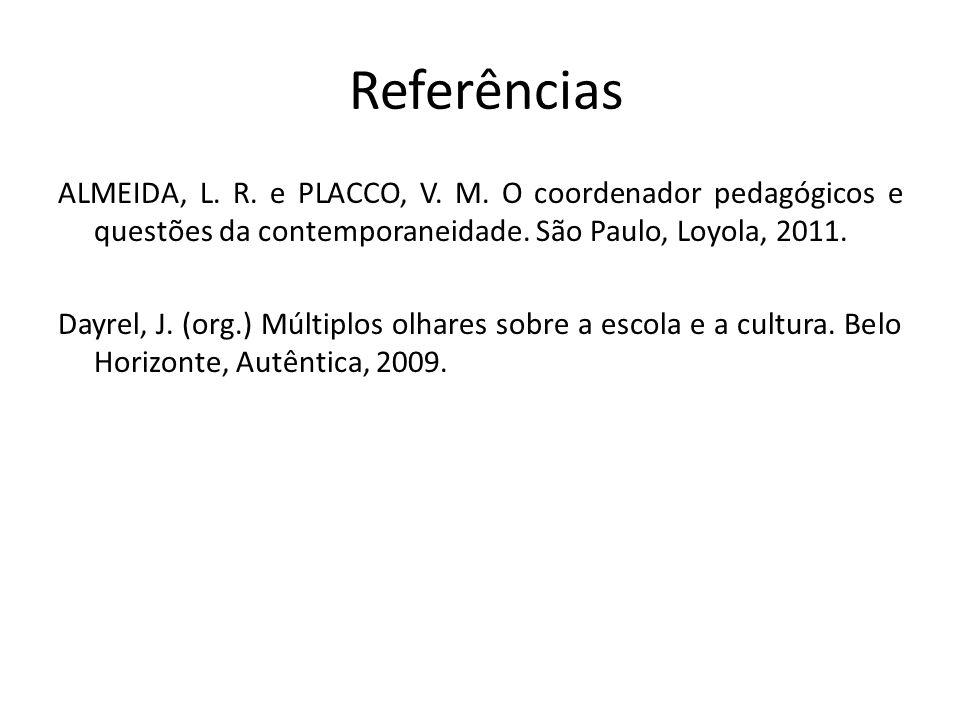 Referências ALMEIDA, L. R. e PLACCO, V. M. O coordenador pedagógicos e questões da contemporaneidade. São Paulo, Loyola, 2011. Dayrel, J. (org.) Múlti