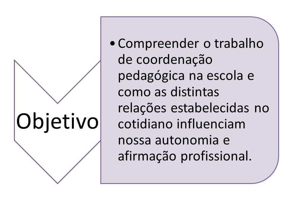 Objetivo Compreender o trabalho de coordenação pedagógica na escola e como as distintas relações estabelecidas no cotidiano influenciam nossa autonomi