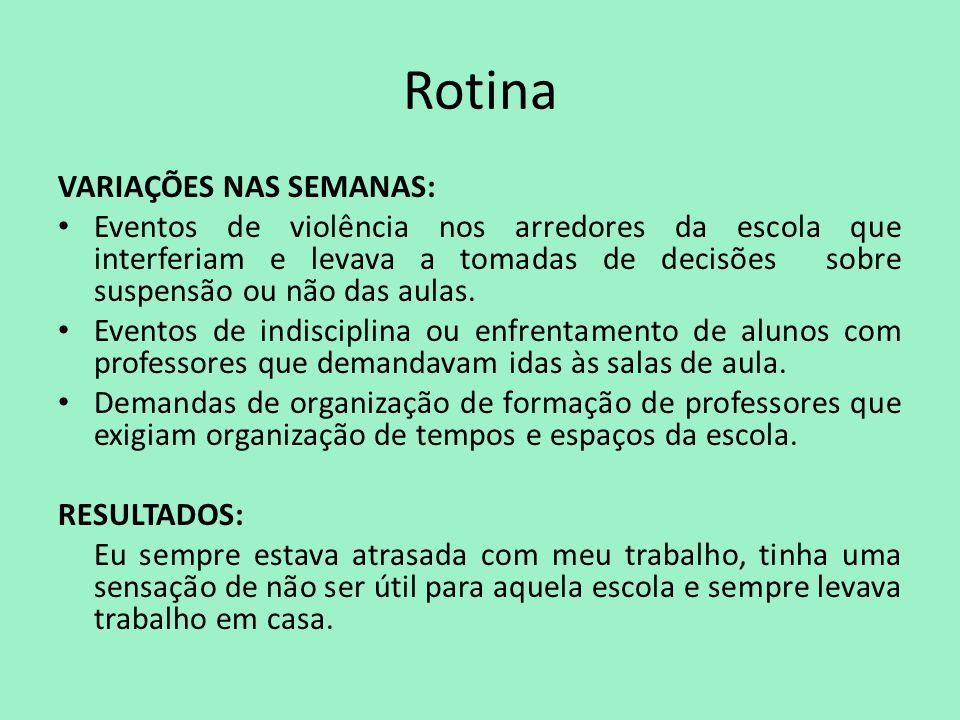 Rotina VARIAÇÕES NAS SEMANAS: Eventos de violência nos arredores da escola que interferiam e levava a tomadas de decisões sobre suspensão ou não das a