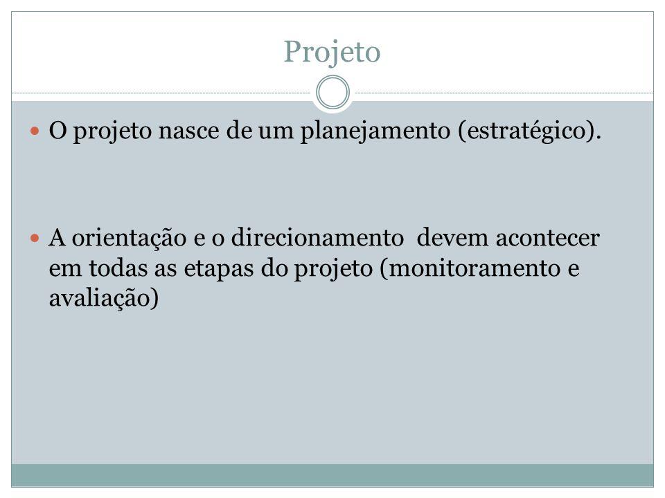 Projeto O projeto nasce de um planejamento (estratégico). A orientação e o direcionamento devem acontecer em todas as etapas do projeto (monitoramento