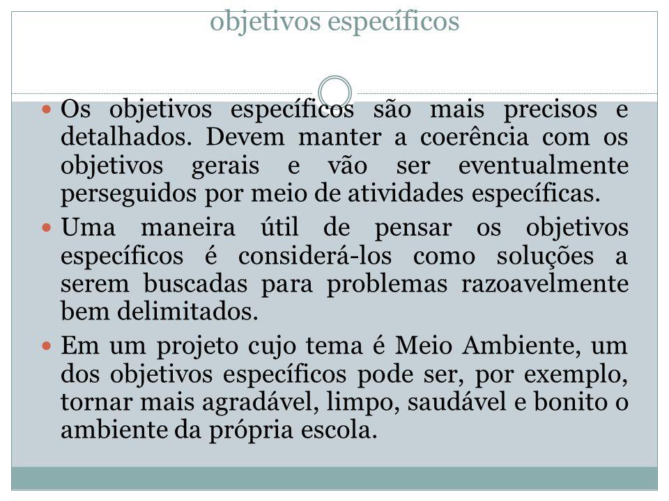objetivos específicos Os objetivos específicos são mais precisos e detalhados. Devem manter a coerência com os objetivos gerais e vão ser eventualment