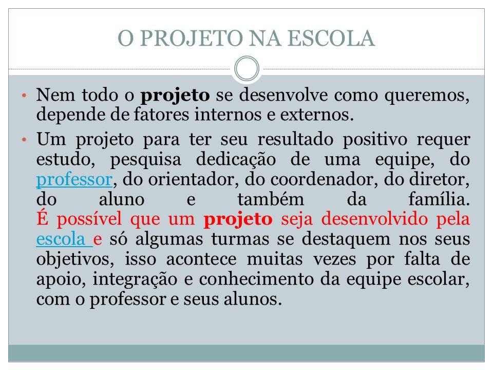 O PROJETO NA ESCOLA Nem todo o projeto se desenvolve como queremos, depende de fatores internos e externos. Um projeto para ter seu resultado positivo
