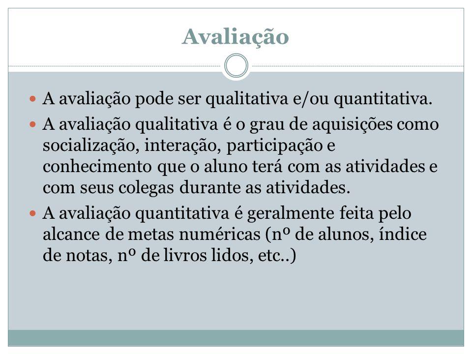 Avaliação A avaliação pode ser qualitativa e/ou quantitativa. A avaliação qualitativa é o grau de aquisições como socialização, interação, participaçã