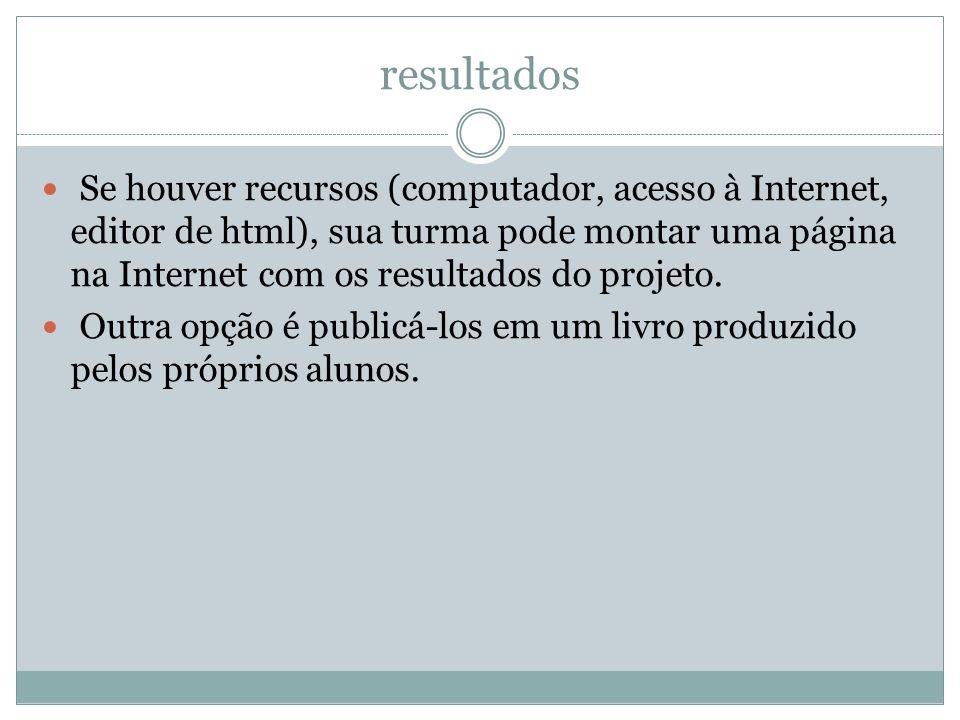 resultados Se houver recursos (computador, acesso à Internet, editor de html), sua turma pode montar uma página na Internet com os resultados do proje