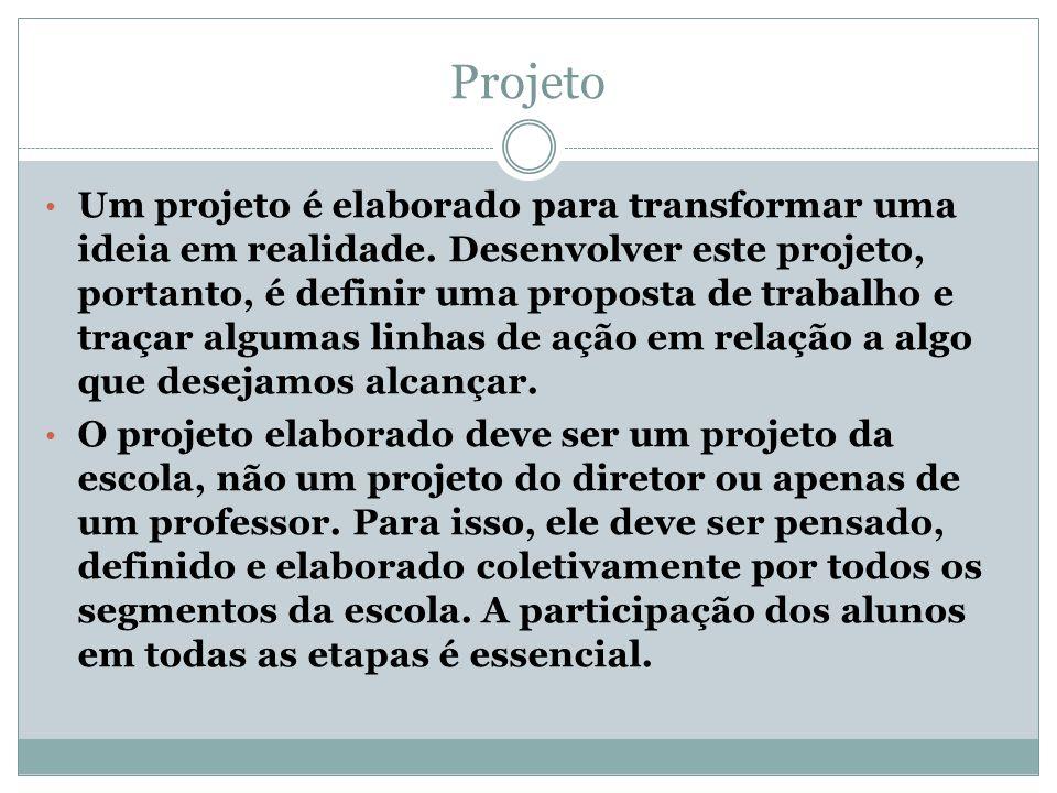 Projeto Um projeto é elaborado para transformar uma ideia em realidade. Desenvolver este projeto, portanto, é definir uma proposta de trabalho e traça