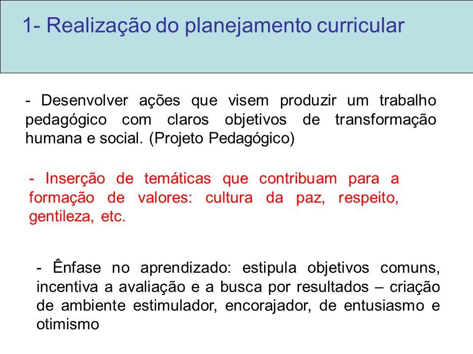 1- Realização do planejamento curricular - Inserção de temáticas que contribuam para a formação de valores: cultura da paz, respeito, gentileza, etc.