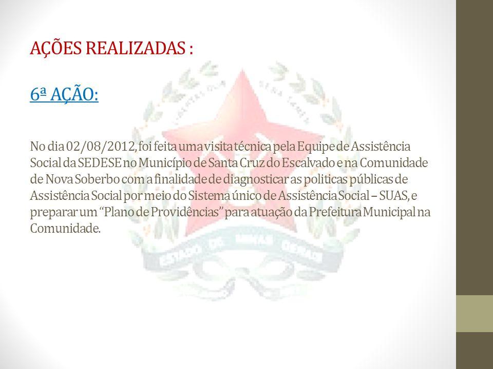 AÇÕES REALIZADAS : 6ª AÇÃO: No dia 02/08/2012, foi feita uma visita técnica pela Equipe de Assistência Social da SEDESE no Município de Santa Cruz do
